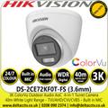 Hikvision 3K ColorVu Outdoor Audio AoC Turret Camera - TVI/AHD/CVI/CVBS - 40m IR White Light Range - DS-2CE72KF0T-FS (3.6mm)