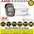 Hikvision 3K fixed lens ColorVu bullet camera with audio, 40m white light range - DS-2CE12KF0T-FS (3.6MM)
