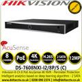 Hikvision 8Ch NVR 8 PoE AcuSense 2 SATA 4K 8 Channel NVR - DS-7608NXI-I2/8P/S(C)