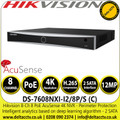 Hikvision DS-7608NXI-I2/8P/S(C) 8Ch NVR 8 PoE AcuSense 2 SATA 4K 8 Channel NVR