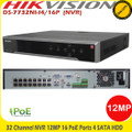 Hikvision DS-7732NI-I4/16P 32 Channel NVR 16 PoE Ports up to 12MP resoluton recording, HDMI & VGA video out