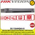 Hikvision 3MP 4-Channel Turbo HD DVR, 1 SATA interface HDTVI/AHD/CVI/CVBS/IP video input | Audio via coaxial cable - DS-7204HQHI-K1