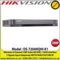 Hikvision - 4 Channel 2MP DVR, 5 Signals Input Adaptively HDTVI/AHD/CVI/CVBS/IP, 1 SATA Interface, 10TB HDD Capacity, H.265 Pro+/H.265 Pro/H.265 Video Compression, Audio Via Coaxial Cable - DS-7204HQHI-K1