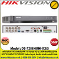 Hikvision - 8 Channel 5MP DVR, 5 Signals Input Adaptively HDTVI/AHD/CVI/CVBS/IP, 2 SATA Interface,  H.265 Pro+/H.265 Pro/H.265 Video Compression, Audio Via Coaxial Cable - DS-7208HUHI-K2(S)