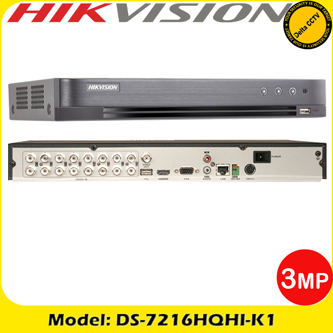 Hikvision DS-7216HQHI-K1 16 Channel Turbo HD DVR 3MP 4-IN-1