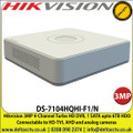 Hikvision - 4Channel 3MP Turbo HD DVR, 1 SATA upto 6TB HDD Connectable to HD-TVI, AHD and analog cameras - DS-7104HQHI-F1/N