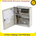 9-Port 10A 12V PSU Box -  PSU10-B -CCTV Wall Mount Power Supplies