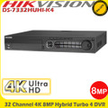 Hikvision DS-7332HUHI-K4 32 Channel 8MP 4K Ultra HD Hybrid Turbo 4 HD-TVI/AHD DVR With HDMI/VGA