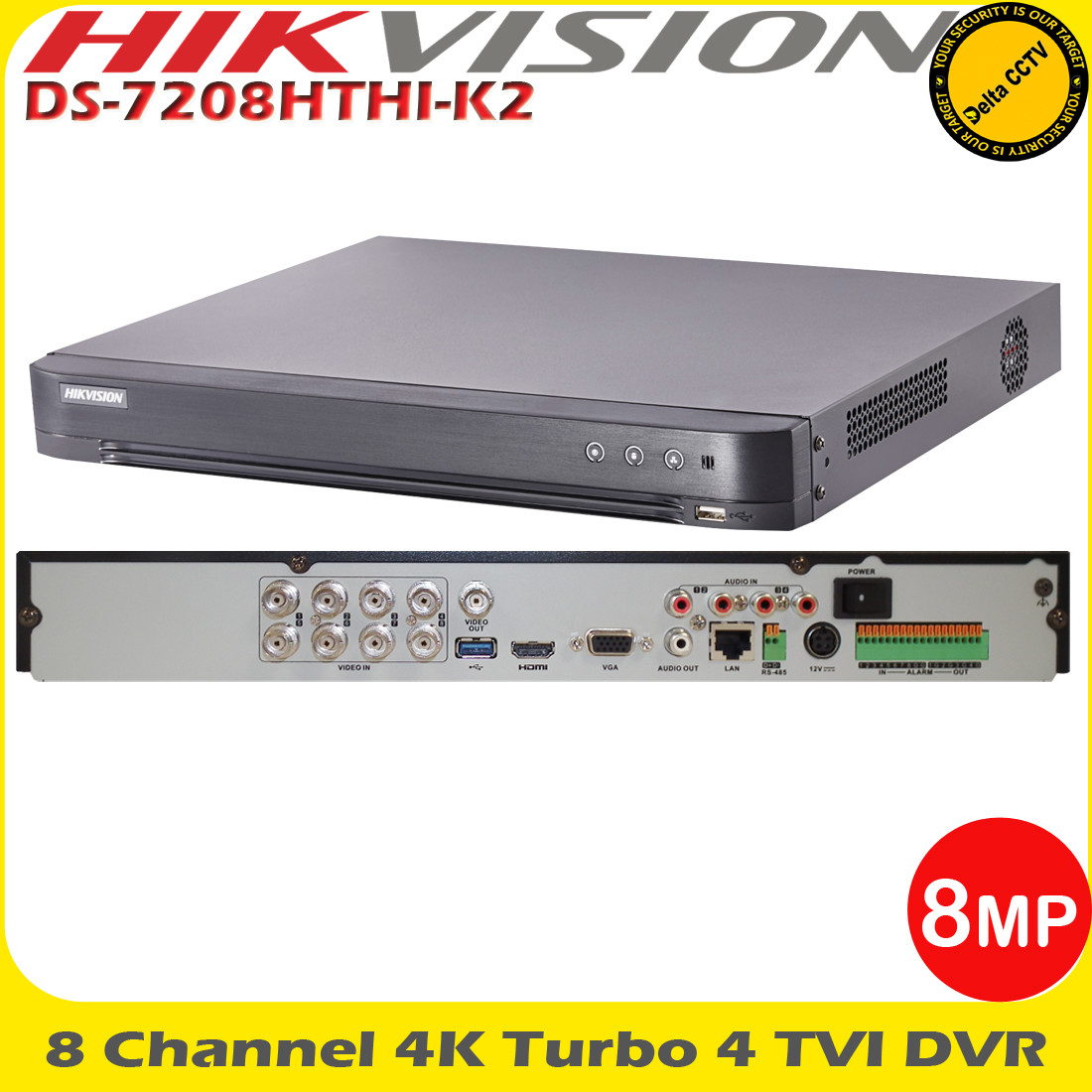 Hikvision DS-7208HTHI-K2 8 Channel TVI Turbo 4 0 8MP DVR CCTV video