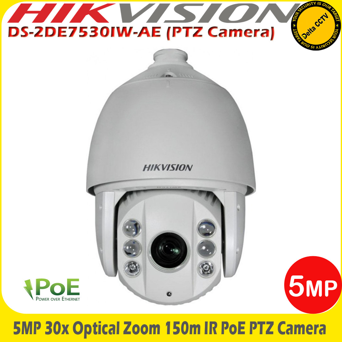 Hikvision DS-2DE7530IW-AE 5MP 30x Optical Zoom 150m IR PoE