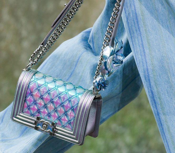 0fe8667a9657 CHANEL 18S Boy Water Purple Iridescent PVC Patent Silver Hw ...