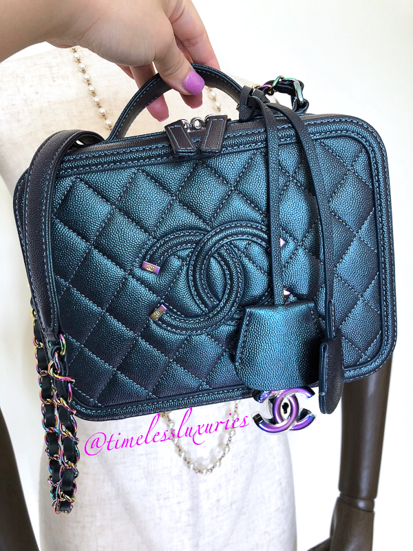 815a39ced836 CHANEL 18B Dk Turquoise Rainbow Filigree Med Vanity Case #26xxxxxx ...