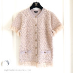 CHANEL 2018 18C Short Sleeve Fringed Cardigan Top Owl Buttons 36 FR