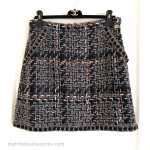 CHANEL 16A Paris in Rome Fantasy Tweed Skirt Lace Trim Gold 40 FR *New
