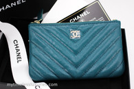 CHANEL 18B Dk Turquoise Caviar Mini O-Case Lt Gold #25646112 *New