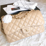 CHANEL 2018 Beige Clair Caviar Jumbo Classic Double Flap GHW #26111354
