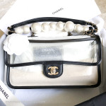 CHANEL 19S Coco Sand PVC, Lambskin & Pearls Flap Bag GHW #274xxxxx *New