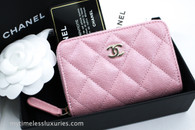 CHANEL 19S Iridescent Pink Caviar Zip Coin Purse/ Cardholder #27xxxxxx *New