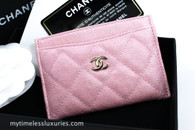 CHANEL 19S Iridescent Pink Caviar Flat Card Holder GHW #27xxxxxx *New