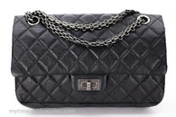 CHANEL Black Aged Calf 2.55 Reissue Flap Bag 225 Ruthenium Hw #18935328