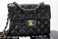 CHANEL Black Caviar Square Mini Classic Flap Bag Gold Hw #8836707