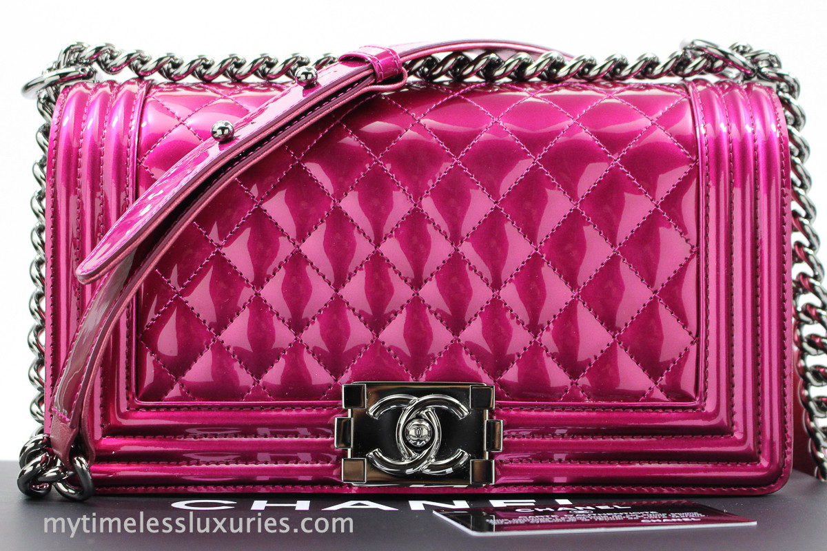 e8fa27cbe46014 CHANEL 14S Fuchsia Metallic Patent Boy Flap Bag #19330378 *New - Timeless  Luxuries