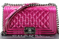 CHANEL 14S Fuchsia Metallic Patent Boy Flap Bag #19330378 *New