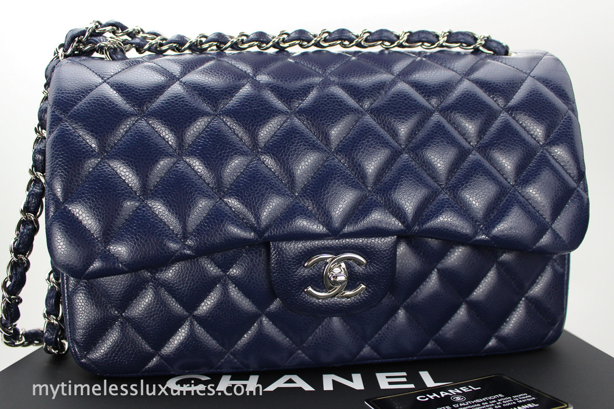 0641960bdf CHANEL Navy Blue Caviar Jumbo Classic Double Flap Silver Hw #15655897 -  Timeless Luxuries