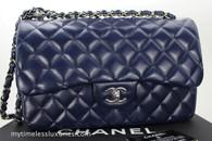 CHANEL Navy Blue Caviar Jumbo Classic Double Flap Silver Hw #15655897