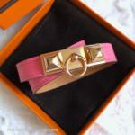 HERMES Rivale Double Tour Bracelet Rose Azalee Swift Rose Gold Hw XS *New