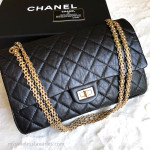CHANEL Black Aged Calf 2.55 Reissue Flap Bag 226 Gold Hw #14117653