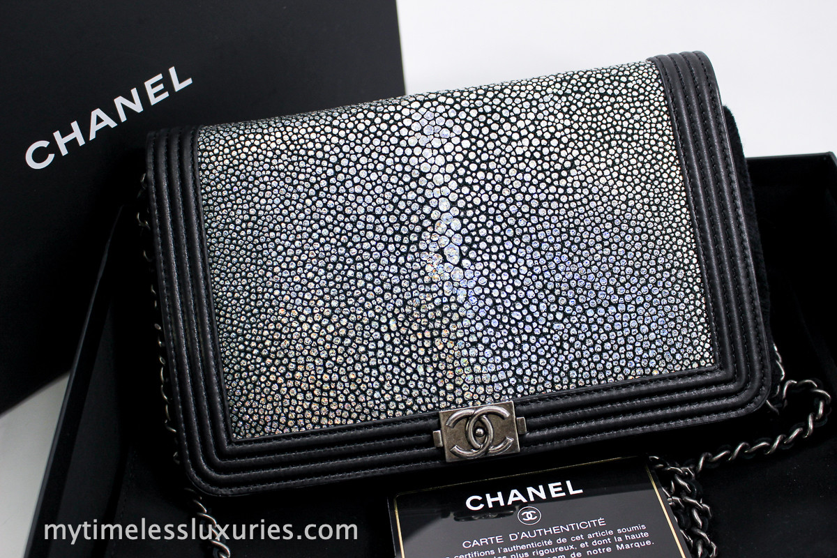 0dd729bfb9d65a CHANEL Iridescent Galuchat Stingray Boy Wallet on Chain WOC #19905347 -  Timeless Luxuries