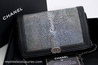 CHANEL Iridescent Galuchat Stingray Boy Wallet on Chain WOC #19905347