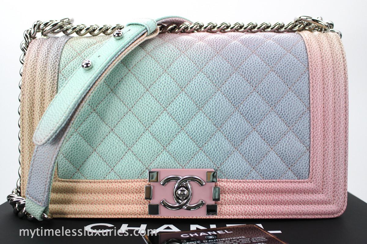 710737620f6 CHANEL 18C Rainbow Caviar Boy Bag Silver Hw Pink Closure #25505699 ...