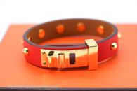 HERMES Mini Dog Clous Ronds Bracelet Rouge Tomate Gold Hw T1 *New