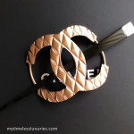 CHANEL 15B Runway CC Hair Pin/ Stick Barette Brushed Rose Gold/ Black Large