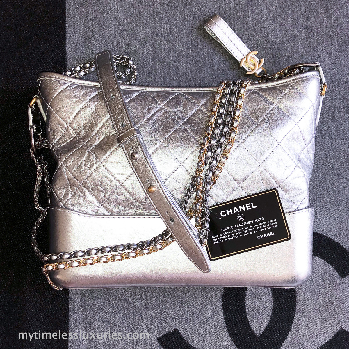 ffc20839cbaa CHANEL Medium Gabrielle Hobo Silver Aged Calf Mix Hw #24075217 ...