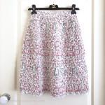 CHANEL 2018 18P Ribbon Tweed Skirt 36 FR White/ Pink/ Green