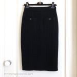 CHANEL 17B Cashmere Knit Pencil Skirt CC Buttons 34 FR Black