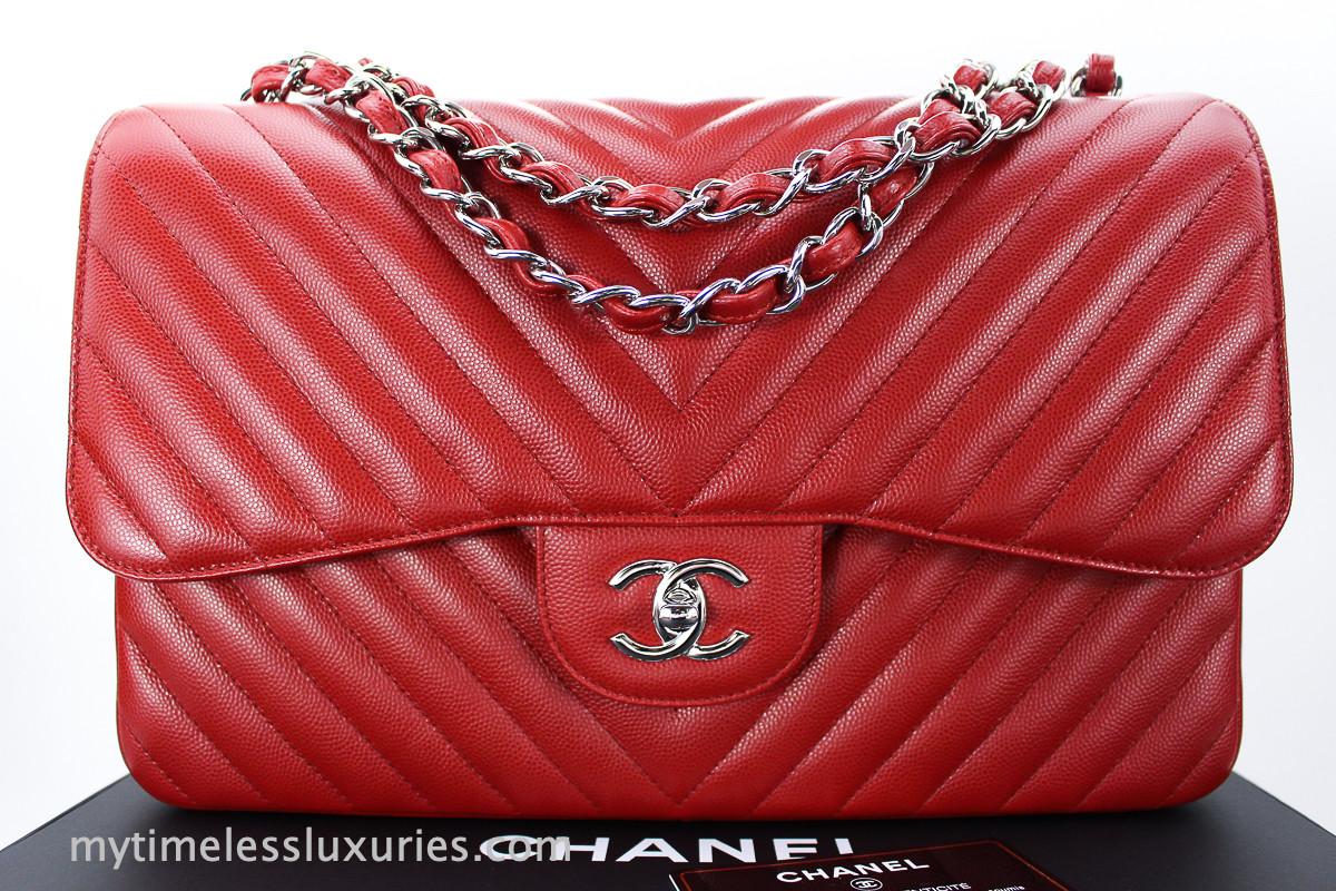 7b392e40fa5e CHANEL 16S Red Caviar Chevron Jumbo Double Flap Silver Hw #22281746 *New -  Timeless Luxuries