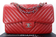 CHANEL 16S Red Caviar Chevron Jumbo Double Flap Silver Hw #22281746 *New