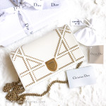 CHRISTIAN DIOR Studded Diorama Wallet on Chain WOC Clutch Latte *New
