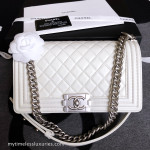 CHANEL 15C Ivory White Quilted Boy Flap Bag Matte Silver Hw #20433409