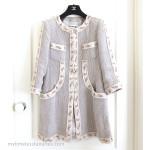 CHANEL 10S Spring Embellished Linen Coat Jacket 38 FR Beige