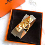 HERMES Rivale Double Tour Bracelet Etoupe Swift Gold Hw XS *New