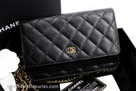 CHANEL Black Caviar Classic WOC Wallet on Chain Gold Hw #24447113 *New