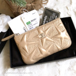 CHANEL 17K Iridescent Gold Star Quilted Mini O-Case Silver Hw #24669222