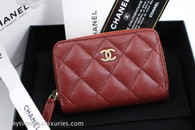 CHANEL 18C Iridescent Red Burgundy Caviar Zip Coin Purse #25286526 *New