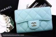 CHANEL 19C Tiffany Blue Caviar Classic Card Holder Lt Gold #26952124 *New