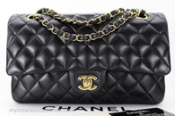 CHANEL Black Lambskin Classic Double Flap Bag Gold Hw #13291773